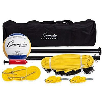 Champion Sports Outdoor Volleyball Set,Complete Portable Team with Net,Pole,Ball