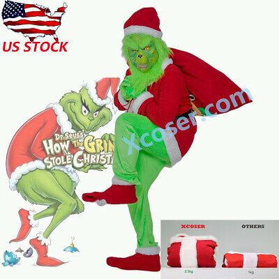 How The Grinch Stole Christmas Costumes.Xcoser Santa Grinch Costume How The Grinch Stole Christmas Cosplay