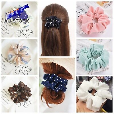 Floral Dot Solid Color Hair Scrunchies Bun Ring Elastic Sports Dance Scrunchie