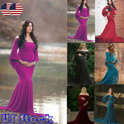 Pregnant Women Off Shoulder Long Maxi Beach Party Maternity Dress Photography US