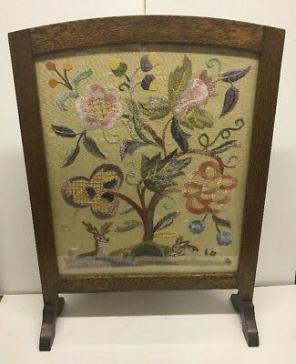 Vintage Wooden Fire Screen - Embroidered