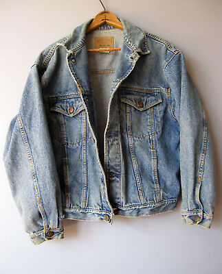 Vintage denim Jean Jacket Blue Faded Distressed S Small