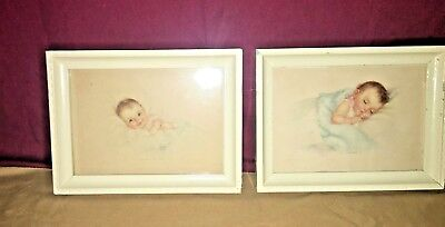 """Vtg. Charlotte Becker- 2 Baby Prints-""""Take Me in Your Arms"""" & """"Land of Dreams"""""""