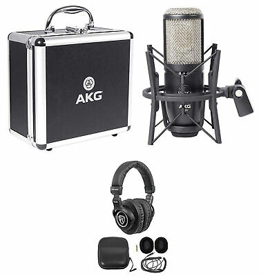 AKG P420 Studio Condenser Recording Podcasting Microphone Mic+Case+Headphones
