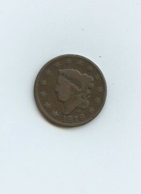 1818 Coronet Head Large Cent - F - #14048