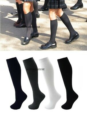 Girls School Uniform Socks Cotton Rich Knee High Socks For School Uniform Black