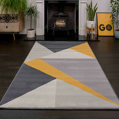Modern Ochre Yellow Grey Cream Rugs Bold Abstract Geometric Living Room Area Rug