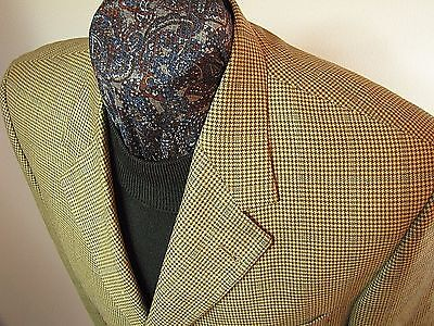 Tommy Hilfiger 3 btn brown black houndstooth window pane wool sportcoat 40 S