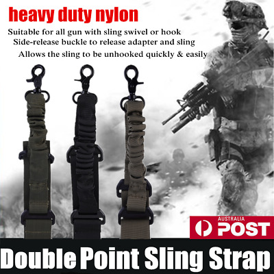 Tactical ! Double Point Adjustable Bungee Rifle Gun Sling System Strap Hook JLY