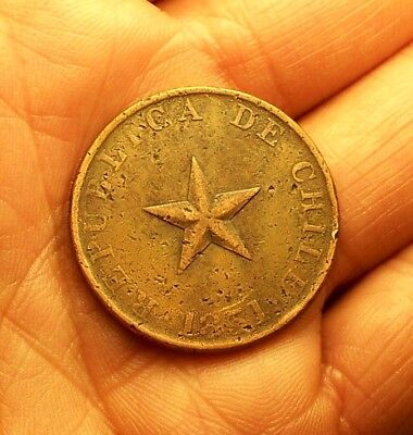++ World Coin  1851 Chile Un One Centavo Star  Large Copper ++