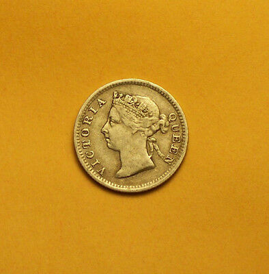 ~ Great Britain Straits Settlements 1900 Silver Five Cents  Queen Victoria ~