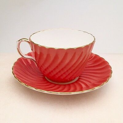 Vivid Orange Aynsley, England Bone China Tea Cup & Saucer Pattern C126 ca. 1930s
