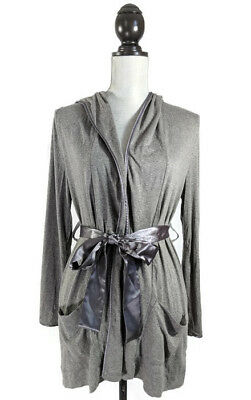 A Pea In The Pod Maternity Robe Womens Medium Gray Pockets Sash Tie Hood