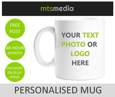 PERSONALISED MUG TEXT PHOTO LOGO CUSTOM DESIGN + Free Gift Box Tea Coffee Cup