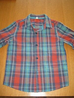 Boys M&S age 2-3 years smart check short sleeved shirt