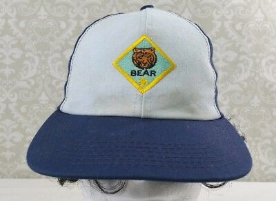 Boy Cub Bear Scout Hat Blue Cap Youth  S/M Small to Medium Made In America