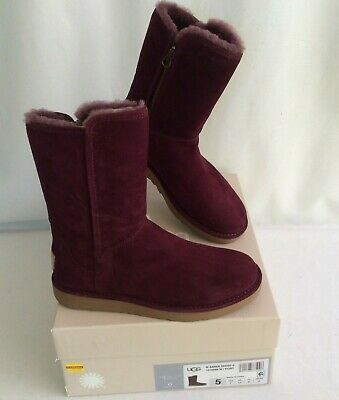 3d509104907 UGG ABREE SHORT II Size 5 -Port- SUEDE SHEARLING Side Zip BOOTS 1016589