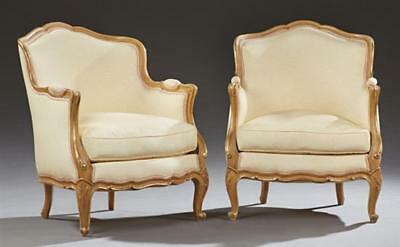 Pair of French Louis XV Style Gilt Beech Bergeres, 19th c., the arched... Lot 97