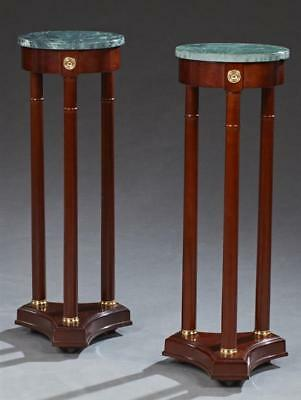Pair of Carved Mahogany Ormolu Mounted Marble Top Pedestals, 20th c., ... Lot 50