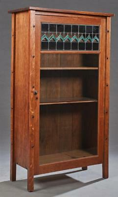 English Arts and Crafts Carved Oak Bookcase, early 20th c., the recta... Lot 419