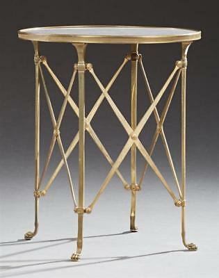 French Louis XV Style Marble Top Circular Brass Side Table, c. 1880, ... Lot 370