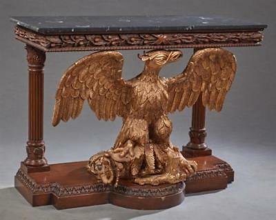 Carved Mahogany Marble Top Eagle Console Table, 20th c., the figured ... Lot 297