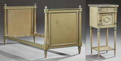 French Louis XVI Style Polychromed Beech Bedroom Suite, 20th c., cons... Lot 581