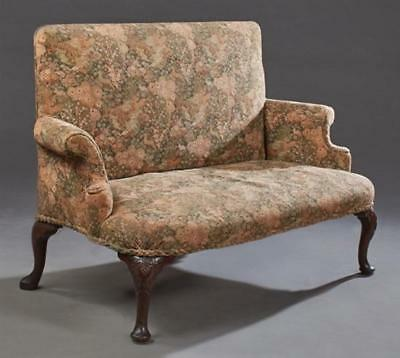 English Upholstered Carved Mahogany Settee, 19th c., the rectangular ... Lot 291