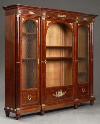 French Empire Ormolu Mounted Carved Mahogany Bookcase, early 19th c.,... Lot 363