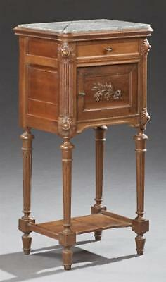 French Louis XVI Style Carved Walnut Marble Top Nightstand, c. 1900, t... Lot 26