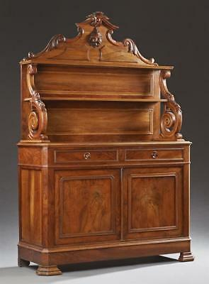 French Carved Walnut St. Hubert Style Sideboard, 19th c., the arched ... Lot 136