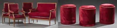 Seven Piece French Louis XVI Style Parlor Suite, early 20th c., consi... Lot 379