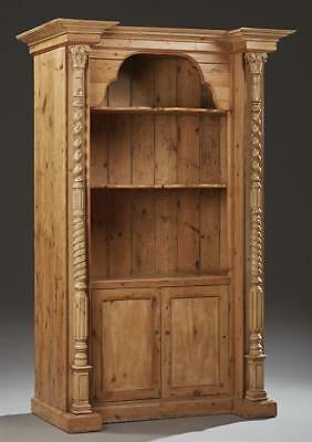 English Carved Stripped Pine Open Bookcase, late 19th c., the breakfr... Lot 274
