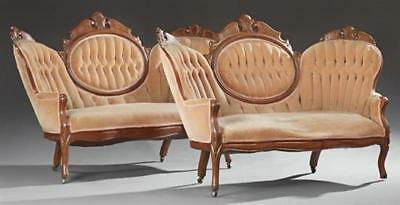 Pair of Victorian Carved Walnut Triple Back Settees, 19th c., the ser... Lot 286