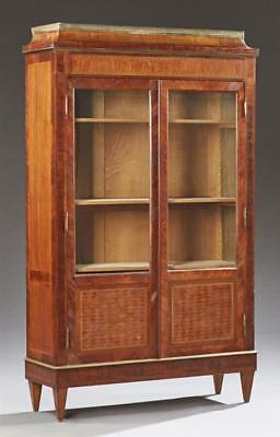Louis XVI Style Parquetry Inlaid Bookcase, c. 1900, the pierced brass ... Lot 91