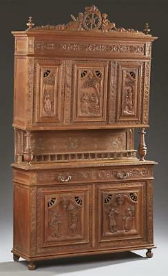 French Carved Oak Henri II Style Buffet a Deux Corps, c. 1880, Britta... Lot 563