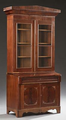 American Carved Mahogany Bookcase Secretary, 19th c., the peaked ogee... Lot 289