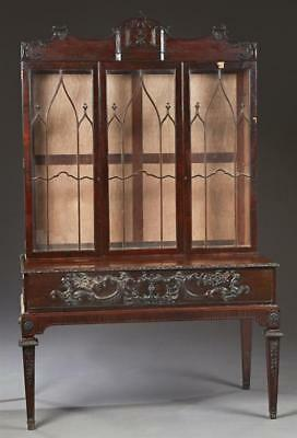 Unusual English Carved Mahogany Bookcase on Stand, early 20th c., the... Lot 288
