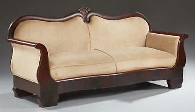 American Classical Carved Mahogany Sofa, 19th c., the double arched b... Lot 287