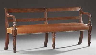 French Louis Philippe Carved Walnut Long Bench, c. 1850, the canted co... Lot 30