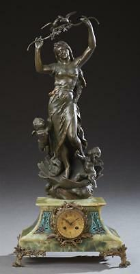 French Gilt and Patinated Spelter and Onyx Figural Mantle Clock, c. 1... Lot 303