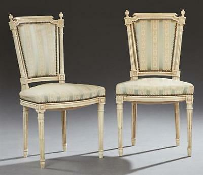 Pair of French Louis XVI Style Polychromed Beech Dining Chairs, 20th c Lot 44