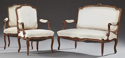 Three Piece French Louis XV Style Carved Walnut Parlor Suite, early 2... Lot 204