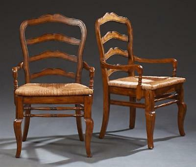 Pair of French Provincial Style Carved Beech Ladderback Fauteuils, 20t... Lot 28