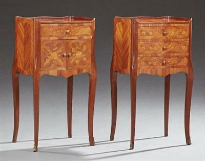 Pair of Louis XV Style Marquetry Inlaid Mahogany Nightstands, c. 1900,... Lot 94