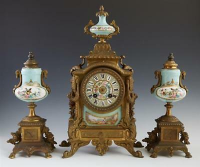 """Three Piece Gilt Spelter and """"Sevres"""" Porcelain Clock Set, 19th c., t... Lot 305"""