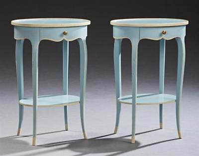 Pair of Louis XV Style Polychromed Beech Nightstands, 20th c.,the dish... Lot 48