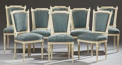 Set of Eight French Louis XVI Style Polychromed Beech Dining Chairs, c... Lot 43