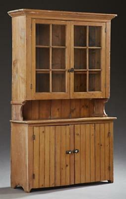 New Orleans Cypress Kitchen Cupboard, c. 1900, the stepped crown over... Lot 283