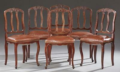 Set of Six French Louis XV Style Carved Walnut Dining Chairs, 20th c.... Lot 216